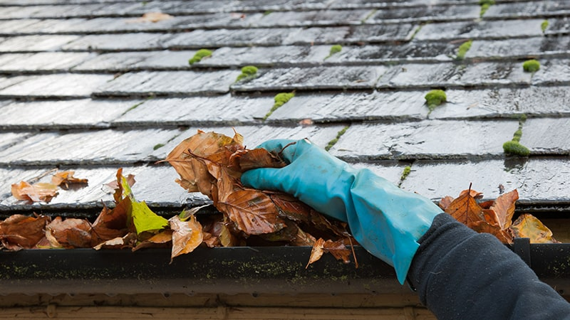 Man shown cleaning gutters on his home