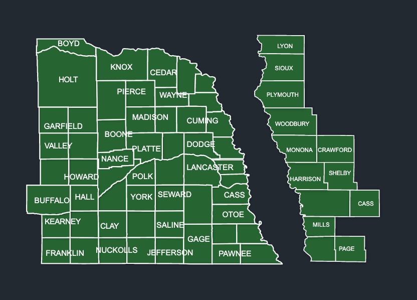 Map of LeafGuard gutters in Nebraska
