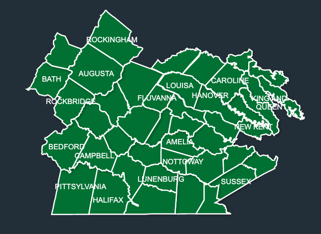 Map of LeafGuard gutters in Virginia