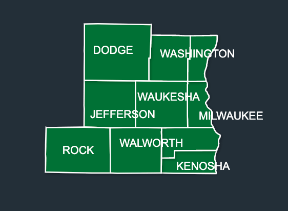 Map of LeafGuard gutters in Wisconsin