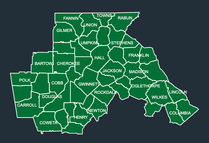 Map of LeafGuard gutters in North Georgia