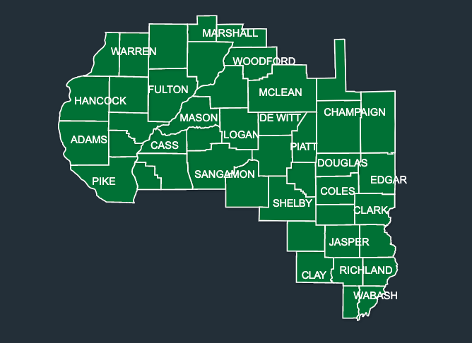Map of LeafGuard gutters in illinois